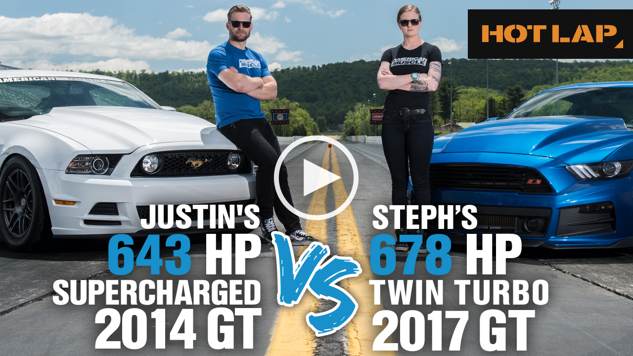 Steph vs Justin Drag Race - Twin Turbo 2017 Mustang GT vs Supercharged 2014 Mustang