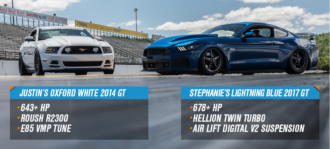 Steph vs Justin Drag Race - Twin Turbo 2017 Mustang GT vs ...