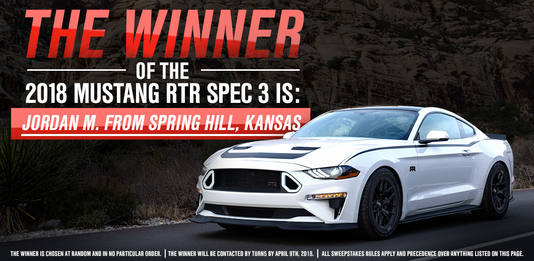 Win a 2018 Mustang RTR SPEC 3